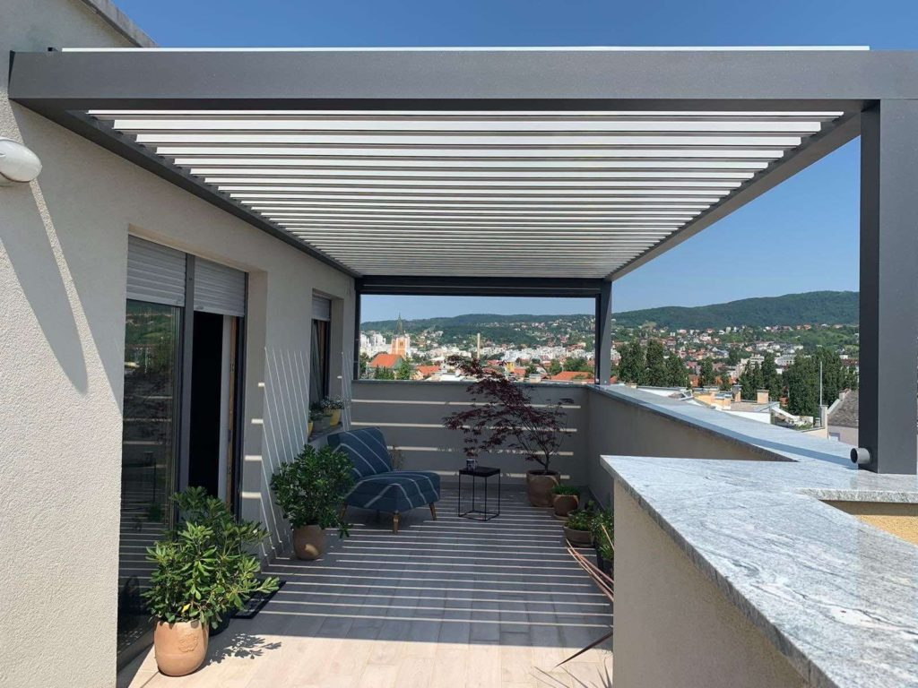 smaller balcony with a pergola in Croatia