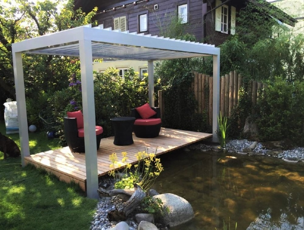 an example of a more sophisticated freestanding pergola setup from France