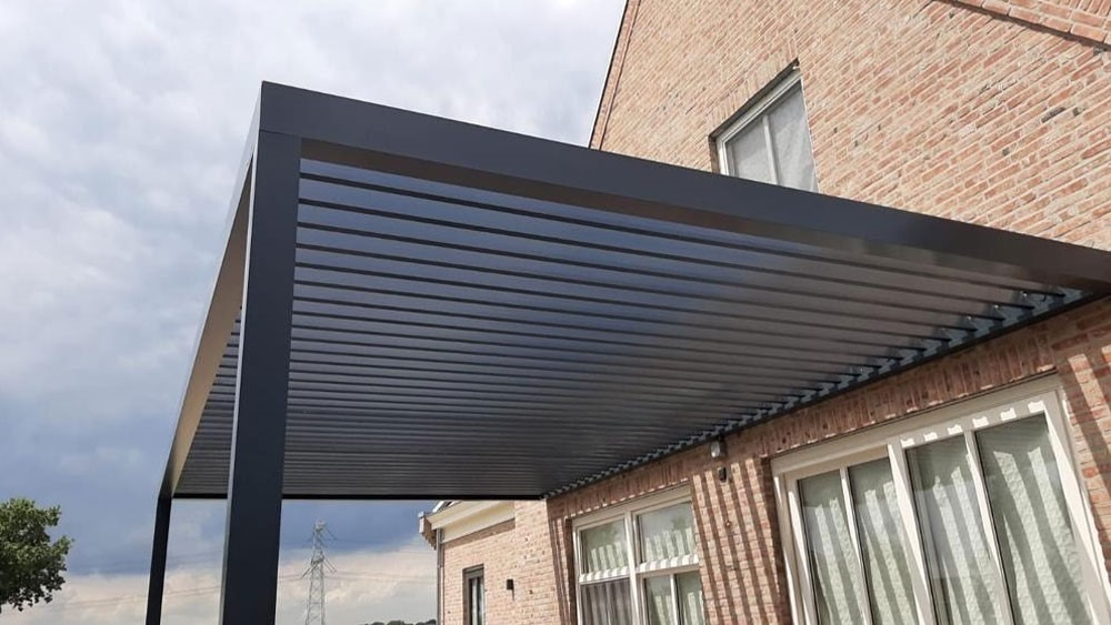 an example of a grey pergola from the Netherlands