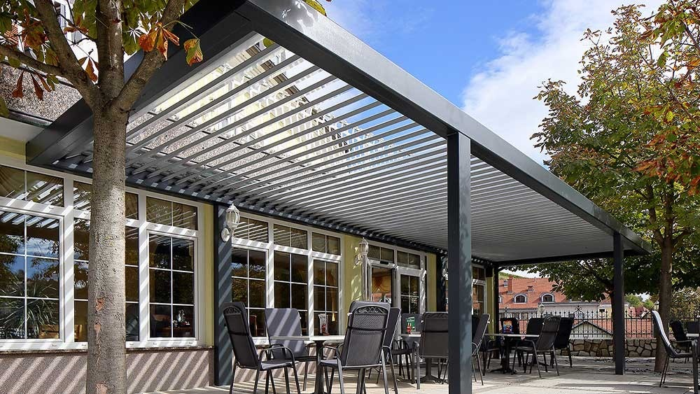 grey pergola as a part of a restaurant in slovenia