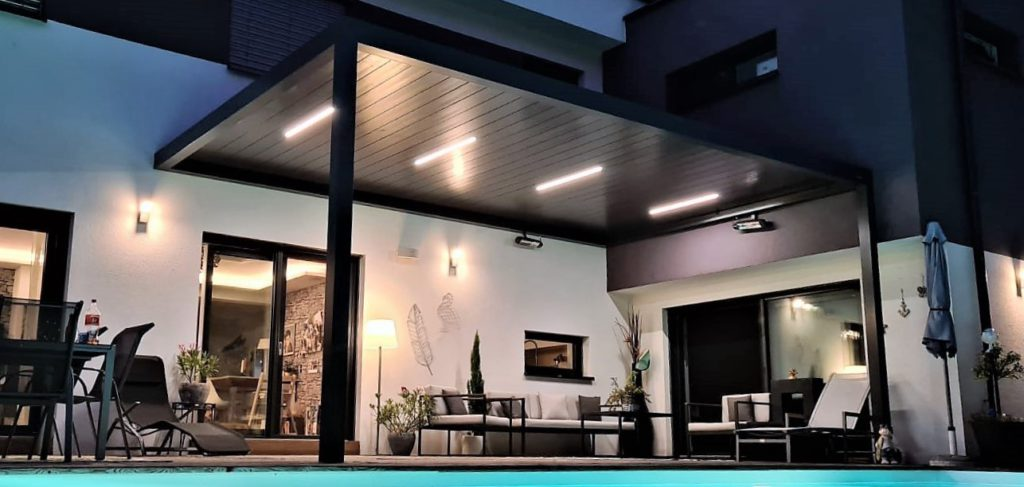 lighted outdoor pergola
